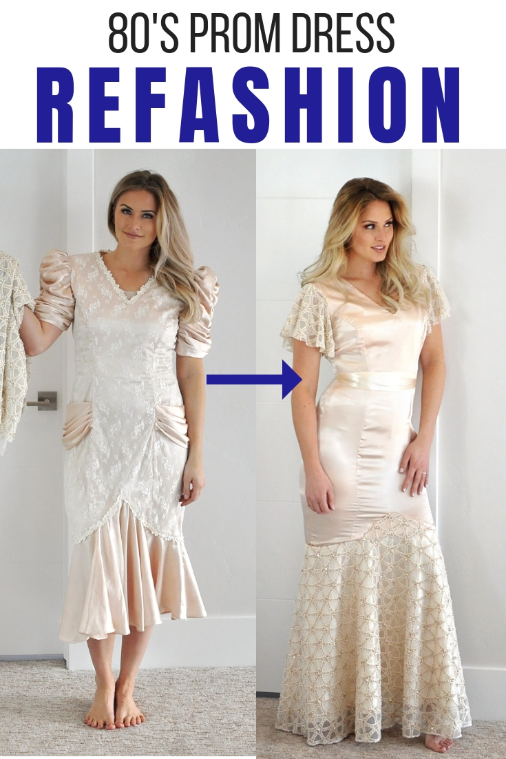 Refashion Series Ep. 8 the 80's prom dress refashion. The beautiful beaded fabric is from JOANN.