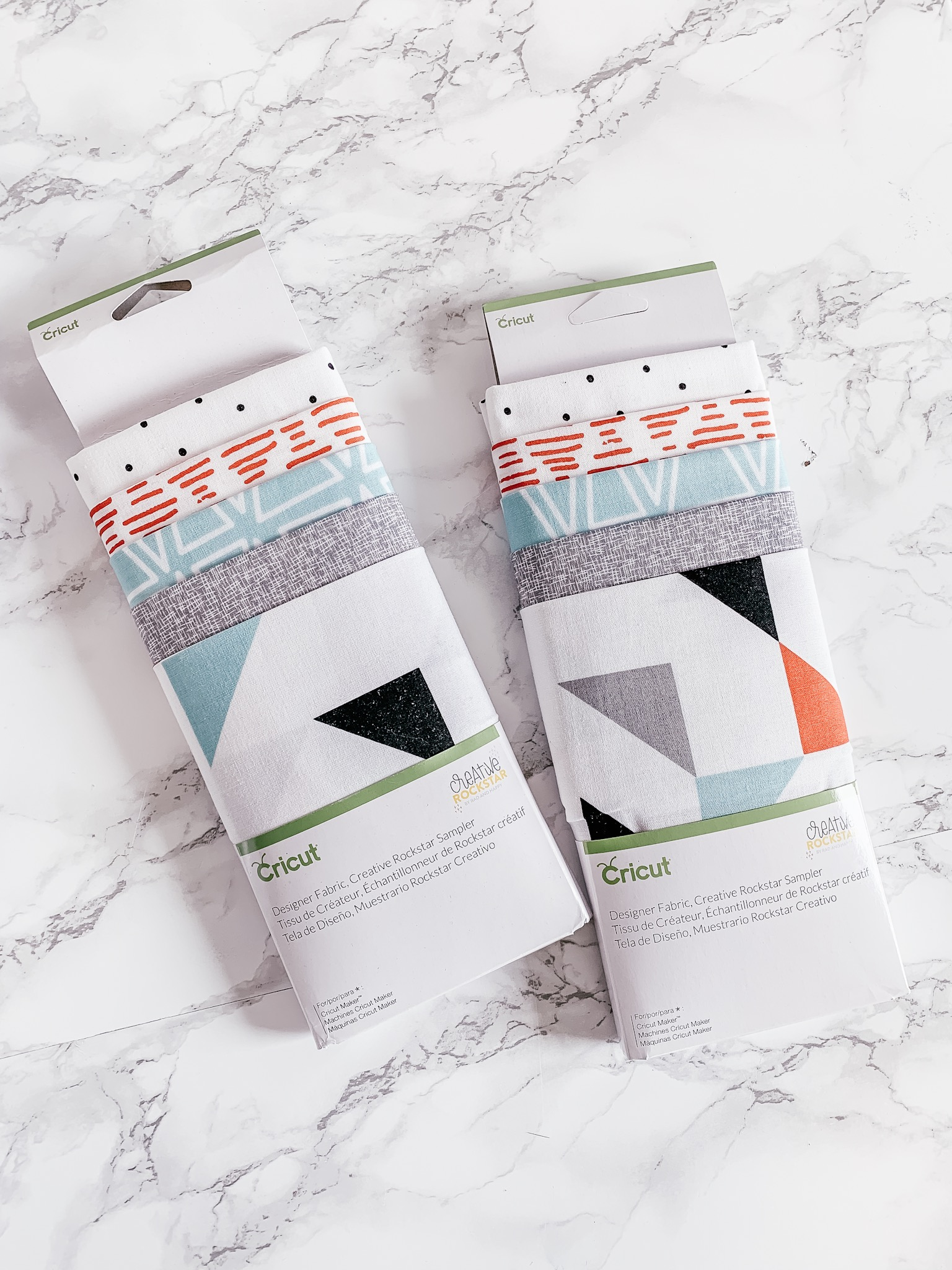 Cricut sales precut fabric samplers that are already the perfect size to be cut by the Cricut Maker. You can find them at JOANN. I love how the sets are color coordinated.