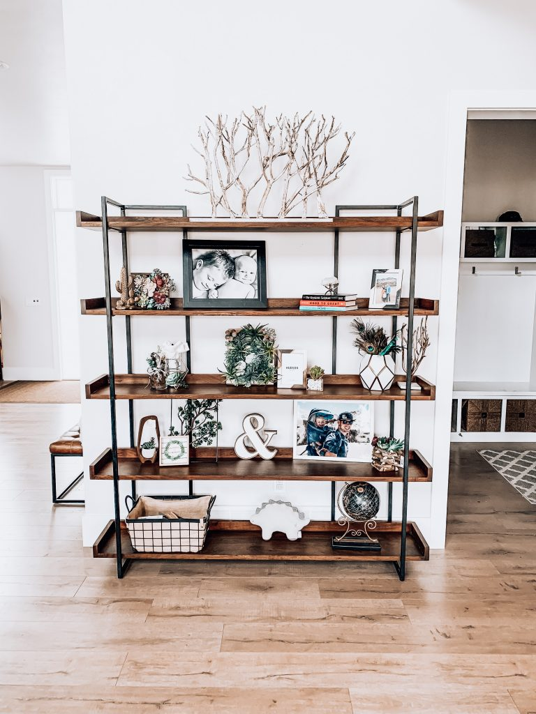 How to style a large bookshelf // modern farmhouse vibes, accents from JOANN