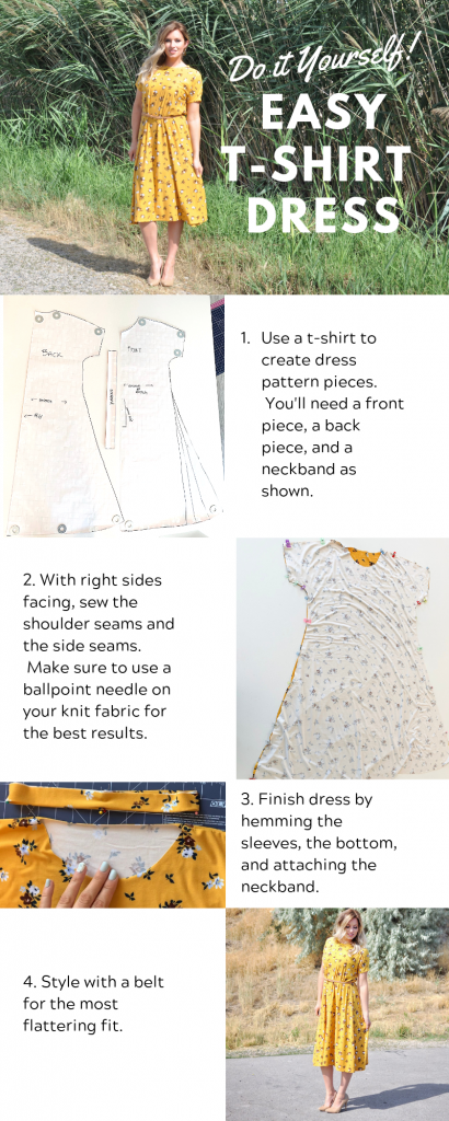 DIY Dress Tutorial // Sew a Dress without a Pattern. Easy t-shirt dress tutorial. Only 3 pattern pieces--front, back, and neckband. Only takes one afternoon. | DIY Dress by popular Utah sewing blogger, Kara Metta: printable step-by-step instructions for a DIY t-shirt dress.