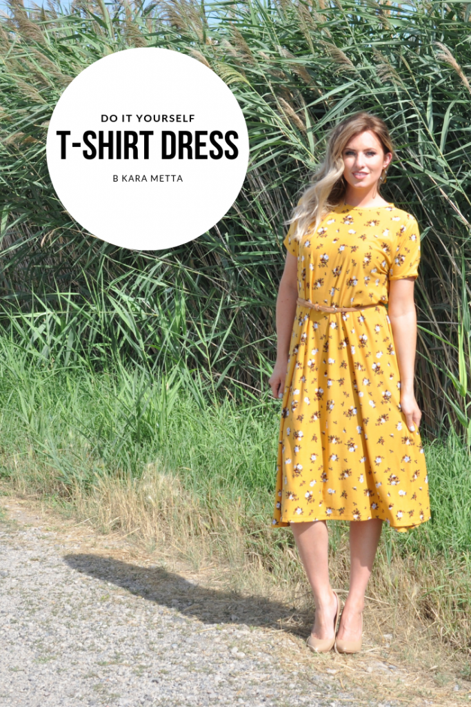 DIY Dress Tutorial // Sew a Dress without a Pattern. Easy t-shirt dress tutorial. Only 3 pattern pieces--front, back, and neckband. Only takes one afternoon. | DIY Dress by popular Utah sewing blogger, Kara Metta: image of a woman standing outside and wearing a  yellow floral DIY t-shirt dress.
