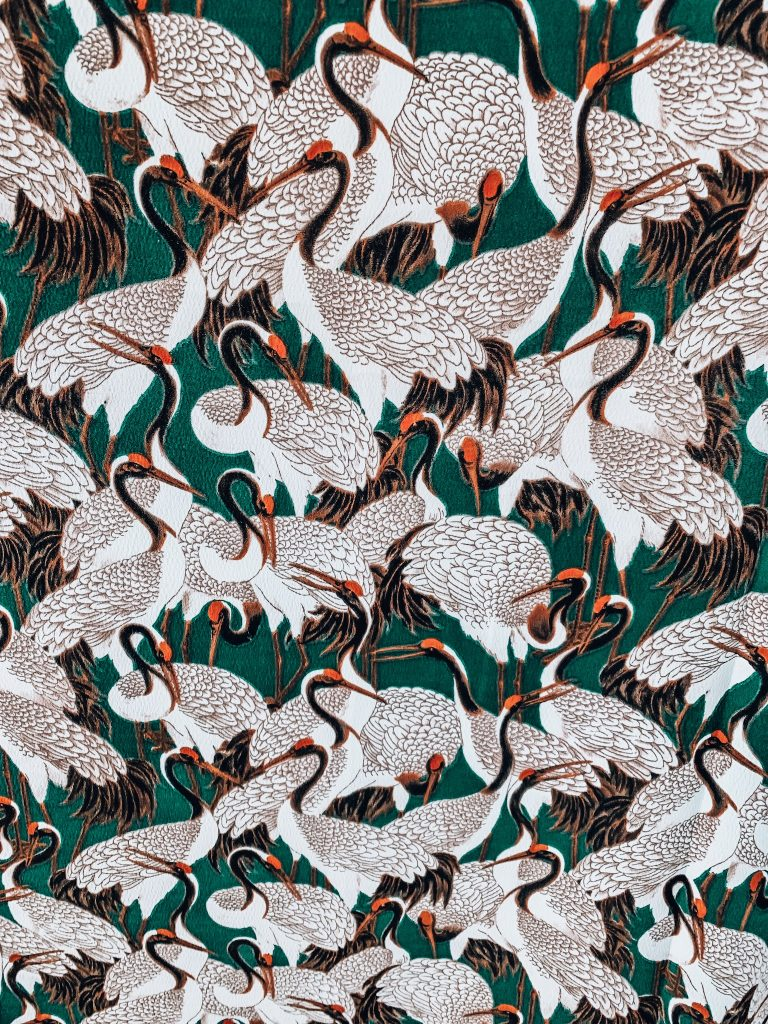 Beautiful crane silky print from @JOANN