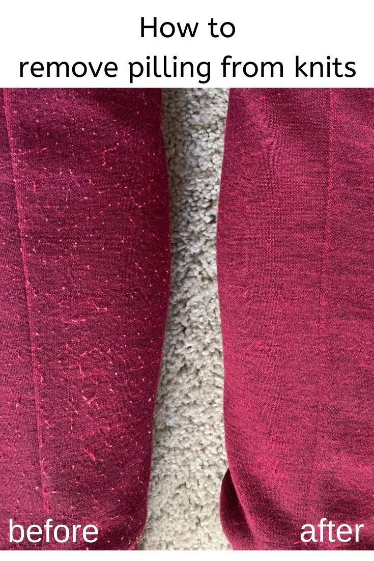 Knit sweatpants are shown before and after the pilling has been removed.