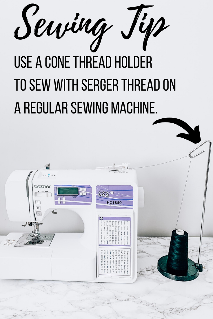 5 Must Have Sewing Tools featured by top US sewing blogger, Kara Metta: A cone thread holder is shown threading a sewing machine.
