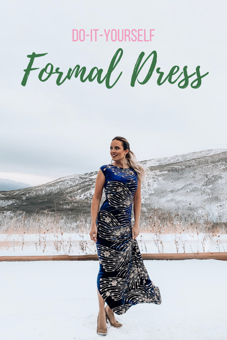 "DIY Formal Dress, a sewing tutorial featured by top US sewing blogger, Kara Metta: A blue velvet dress with gold accents is worn by a blonde woman outside in the winter. The words"" DIY formal dress"" are shown."