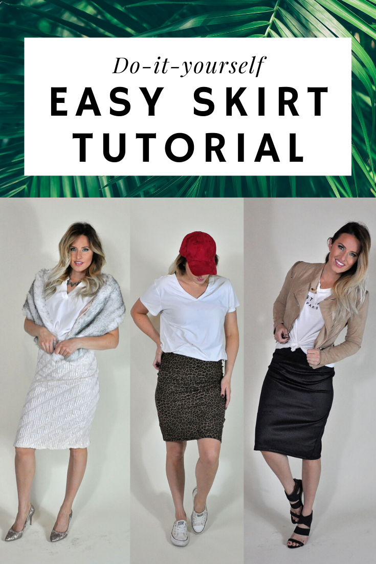 "Easy DIY Knit Skirt Tutorial featured by top US sewing blogger, Kara Metta: Image has text saying, ""DIY Easy Skirt Tutorial"" with three different skirts being modeled. 