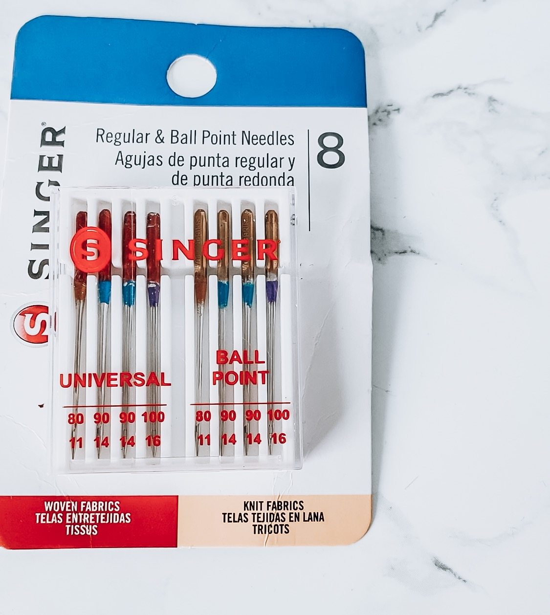 DIY Formal Dress, a sewing tutorial featured by top US sewing blogger, Kara Metta: Singer ballpoint needles in their package.