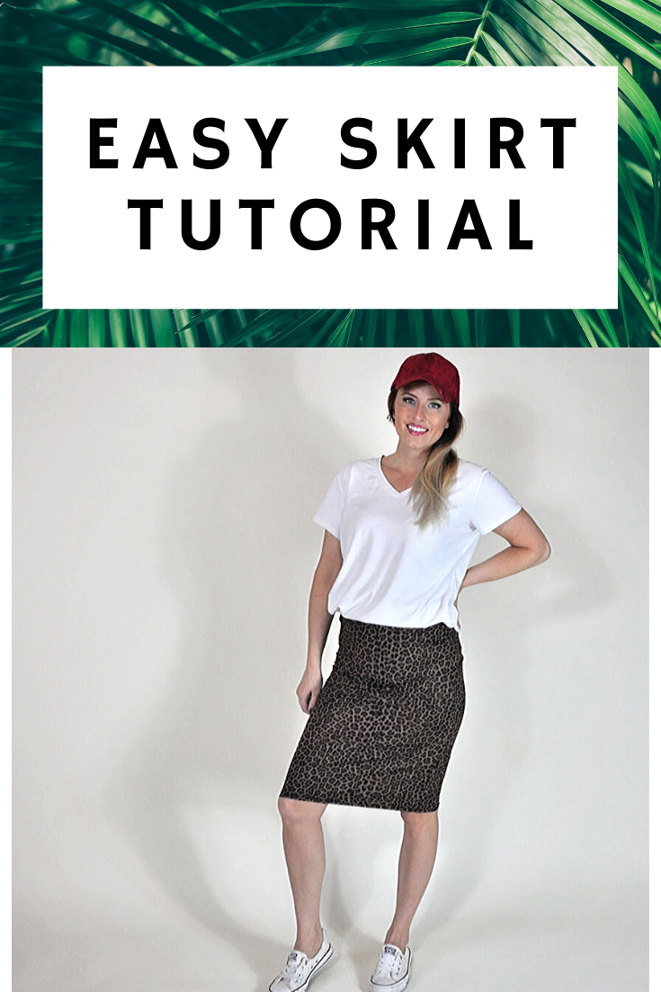 "Girl wearing skirt.  Text on image says ""easy skirt tutorial."""