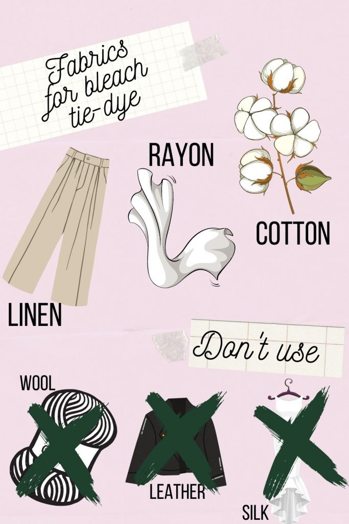 Infographic showing which fabrics are best for bleach tie-dye.